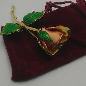 Vintage Giovanni Single Rose Brooch